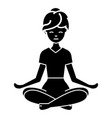 yoga woman icon black sign vector image