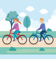 young couple on bicycle character vector image