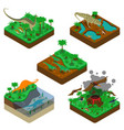 dinosaurs isometric compositions vector image