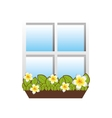 window with flowers icon image vector image