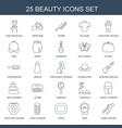 25 beauty icons vector image vector image