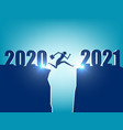 a business person jumping to new year 2021 vector image