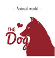 animal world the dog heart red dog background vect vector image vector image