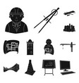 architecture and construction black icons in set vector image