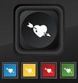Arrow heart icon symbol Set of five colorful vector image vector image