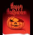 banner for halloween party with a broken pumpkin vector image
