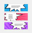 banner set with comic style design template pop vector image vector image