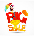 big sale symbol with happy girl with colorful vector image