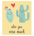 bright card with cute smiling cactus and quote vector image