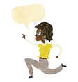 cartoon woman running and pointing with speech vector image vector image