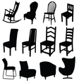 chair art in black color two vector image vector image