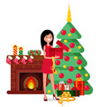 christmas set in cartoon style vector image vector image