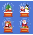 Collection of Christmas Glass Snow Globes vector image