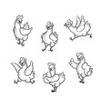 cute chicken characters black white set vector image