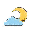cute moon with cloud vector image vector image
