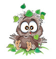 cute owlet sitting on ground under a leaf vector image vector image