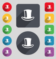 Cylinder hat icon sign A set of 12 colored buttons