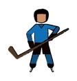 drawing character hockey player skating blue vector image