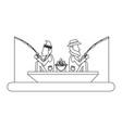 fishermen in boat in black and white vector image vector image