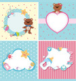 four background templates with baby theme vector image vector image