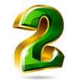 gold and green number 2 isolated on white vector image vector image