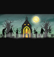 halloween scary zombie in graveyard with church vector image vector image