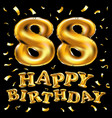 happy birthday 88th celebration gold balloons and vector image vector image
