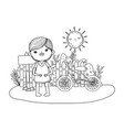 happy little boy with bicycle in the field vector image