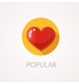 Heart Icon Flat design style with long shadow vector image vector image