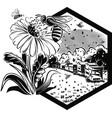 hexagon frame with worker bees on flowers vector image vector image