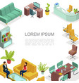isometric office interior template vector image
