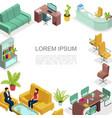 Isometric office interior template