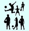 junior soccer player silhouette 01 vector image vector image