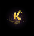 k letter alphabet icon design with golden star vector image