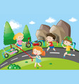 kids racing in the park vector image