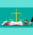 law code books justice scales and judge gavel vector image