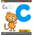 letter c with cartoon cat vector image vector image