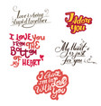 lettering collection with quotes about love vector image vector image