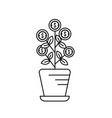 line plant with coins leaves inside flowerpot vector image vector image