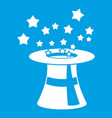 magic hat with stars icon white vector image vector image