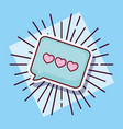 message bubble love hearts cartoon style vector image