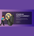 mining of ethereum crypto currency poster vector image