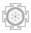 monochrome outline seed of life yantra vector image vector image