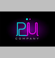 neon lights alphabet pu p u letter logo icon vector image vector image