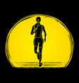 runners sprinting marathon running vector image vector image