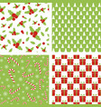 seamless christmas patterns set of backgrounds vector image