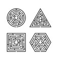 set labyrinth different shapes for game maze vector image