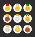 set medals icons golden silver bronze vector image