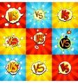 set versus letters fight backdrops in pop art vector image vector image