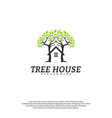 tree house logo template leaf house logo vector image vector image